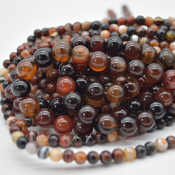 High Quality Grade A Sardonyx Agate (orange, black) Semi-precious Gemstone Round Beads - 4mm, 6mm, 8mm, 10mm sizes