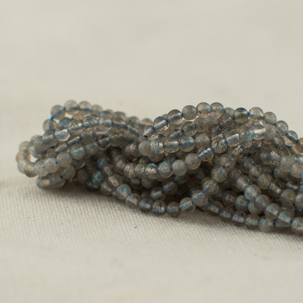 "High Quality Grade A Natural Labradorite Semi-Precious Gemstone Round Beads - 2mm - 15.5"" long"