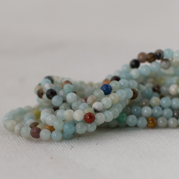 "High Quality Grade A Natural Multi-colour Amazonite Semi-Precious Gemstone Round Beads - 2mm - 15.5"" long"