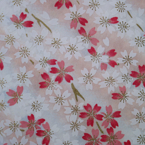Japanese Handcrafted Yuzen Washi Chiyogami Origami Paper Large sheet - Pink Cherry Blossom - approx 630mm x 945mm