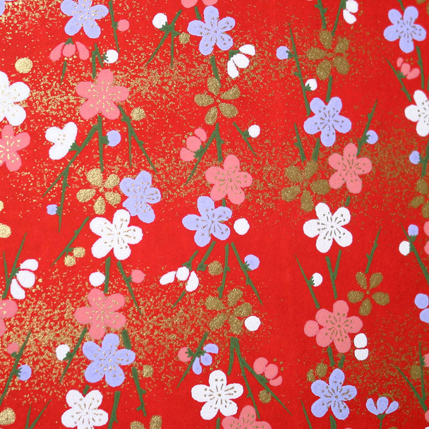 Japanese Handcrafted Yuzen Washi Chiyogami Origami Paper Large sheet - Cherry Blossom - approx 630mm x 945mm