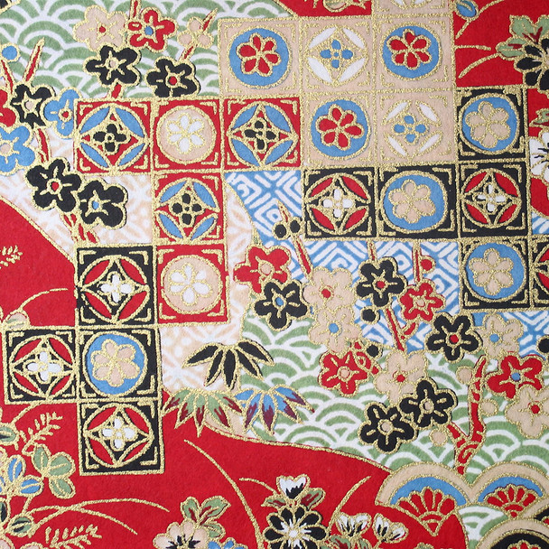 Japanese Handcrafted Yuzen Washi Chiyogami Origami Paper Large sheet - Traditional Kimono Pattern - approx 630mm x 945mm