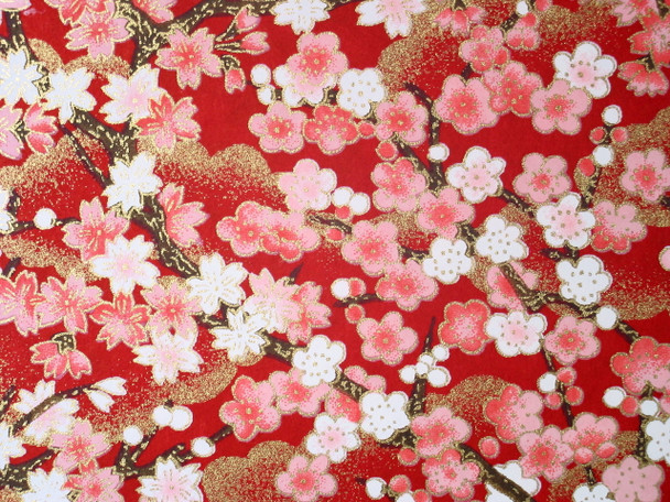 Japanese Handcrafted Yuzen Washi Chiyogami Origami Paper Large sheet - Pink Plum Flowers - approx 630mm x 945mm
