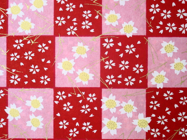 Japanese Handcrafted Yuzen Washi Chiyogami Origami Paper Large sheet - Sakura Cherry Flower - approx 630mm x 945mm