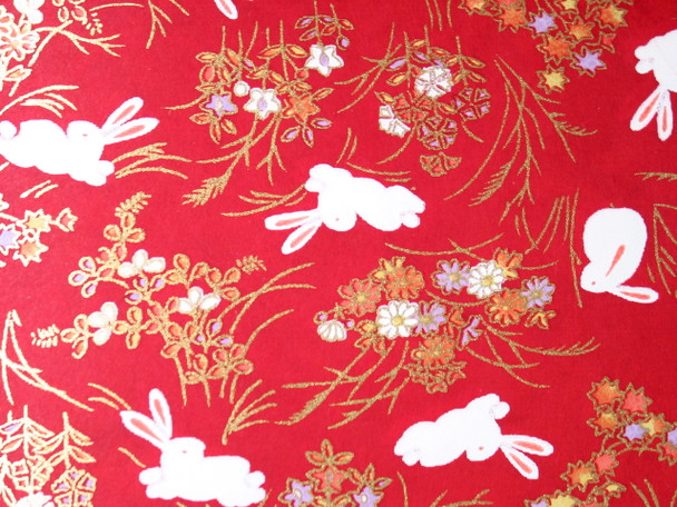 Japanese Handcrafted Yuzen Washi Chiyogami Origami Paper Large sheet - White Bunny Rabbit - approx 630mm x 945mm