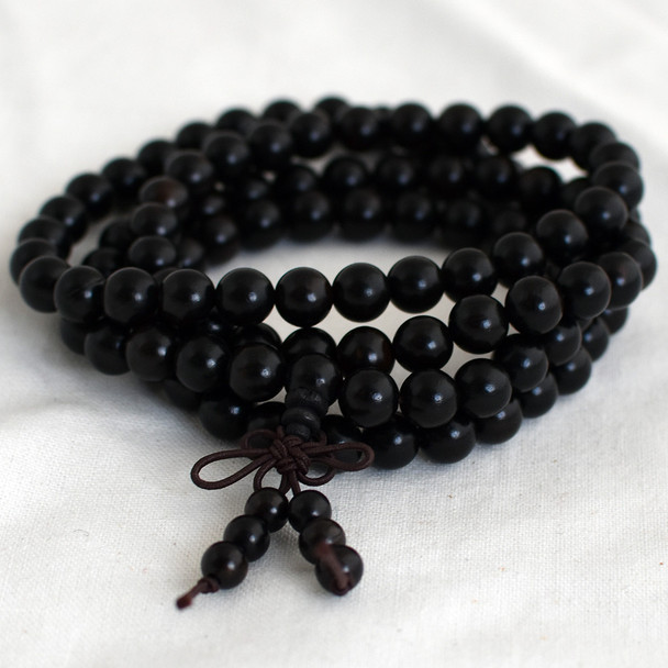 Natural Black Sandalwood Round Wood Beads - 108 beads - Mala Prayer Beads - 6mm, 8mm