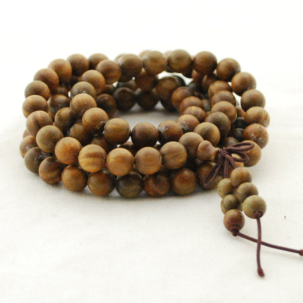 Natural Green Sandalwood Round Wood Beads - 108 beads - Mala Prayer Beads - 6mm, 8mm, 10mm