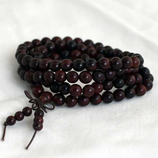 Natural Purple Sandalwood Round Wood Beads - 108 beads - Mala Prayer Beads - 6mm, 8mm
