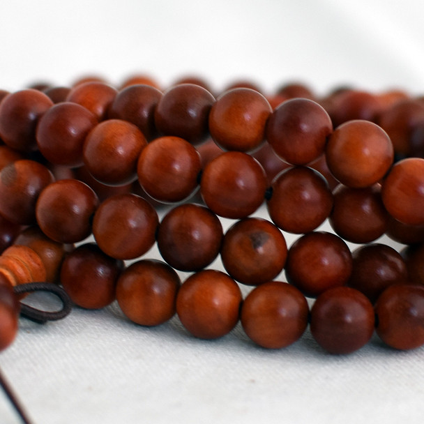 Natural Red Dragon Blood Round Wood Beads - 108 beads - Mala Prayer Beads - 6mm, 8mm