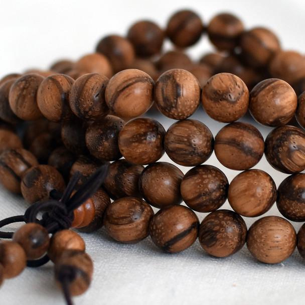 Natural Yellow Qinan Sandalwood Aquilaria Round Wood Beads - 108 beads - Mala Prayer Beads - 6mm, 8mm