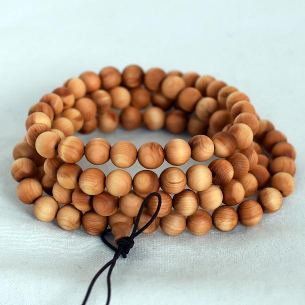Natural Plain Thuja Round Wood Beads - 108 beads - Mala Prayer Beads - 6mm, 8mm, 10mm
