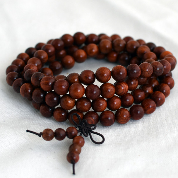 Natural Red Rosewood Round Wood Beads - 108 beads - Mala Prayer Beads - 6mm, 8mm