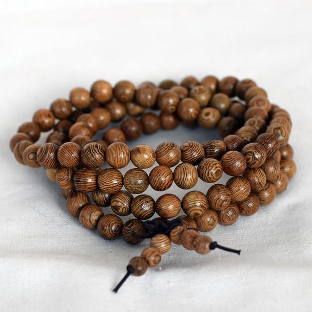 Natural African Sennawood Siamese Round Wood Beads - 108 beads - Mala Prayer Beads - 6mm, 8mm, 10mm, 12mm