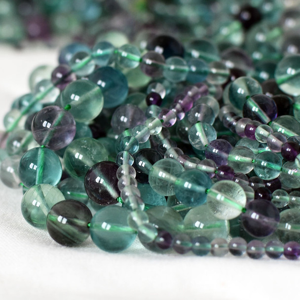 High Quality Grade AA Natural Rainbow Fluorite Semi-Precious Gemstone Round Beads - 4mm, 6mm, 8mm, 10mm