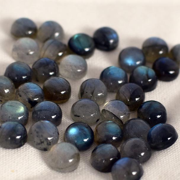 Grade AA Natural Labradorite Semi-precious Gemstone Round Cabochon - 3mm, 4mm, 5mm, 6mm, 7mm, 8mm, 10mm sizes