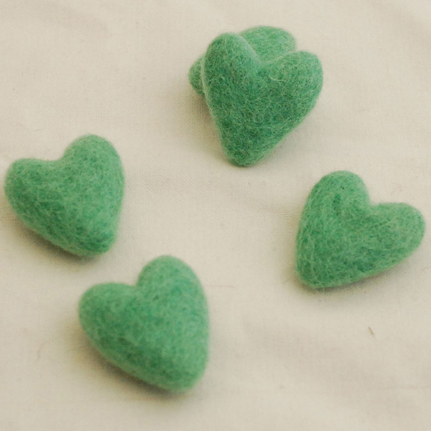 100% Wool Felt Hearts - 10 Count - Jade Green - Approx 3.5cm