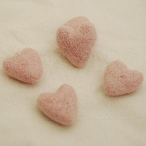 100% Wool Felt Hearts - 5 Count - Light Baby Pink - Approx 3.5cm
