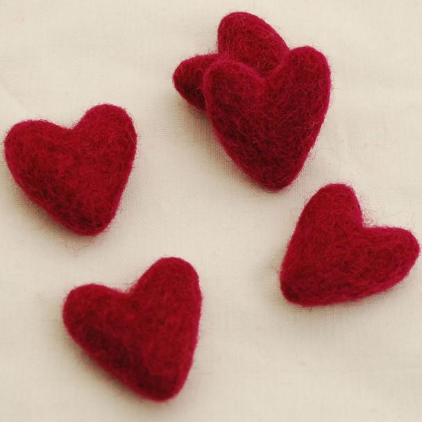 100% Wool Felt Hearts - 10 Count - Azalea Pink - Approx 3.5cm