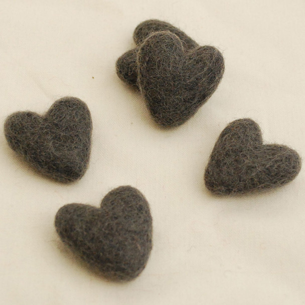 100% Wool Felt Hearts - 10 Count - Ash Grey - Approx 3.5cm