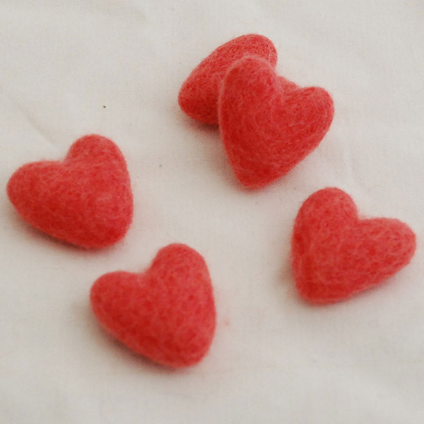 100% Wool Felt Hearts - 5 Count - Light Coral Red - Approx 3.5cm
