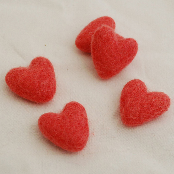 100% Wool Felt Hearts - 5 Count - Coral Red - Approx 3.5cm