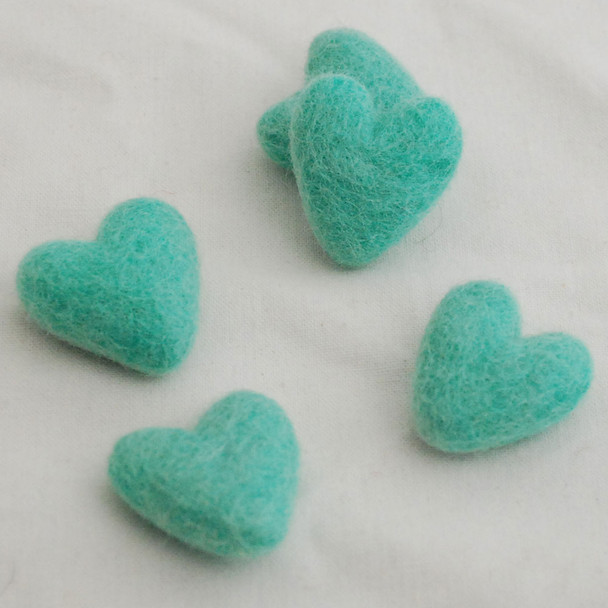 100% Wool Felt Hearts - 5 Count - Aquamarine Green - Approx 3.5cm