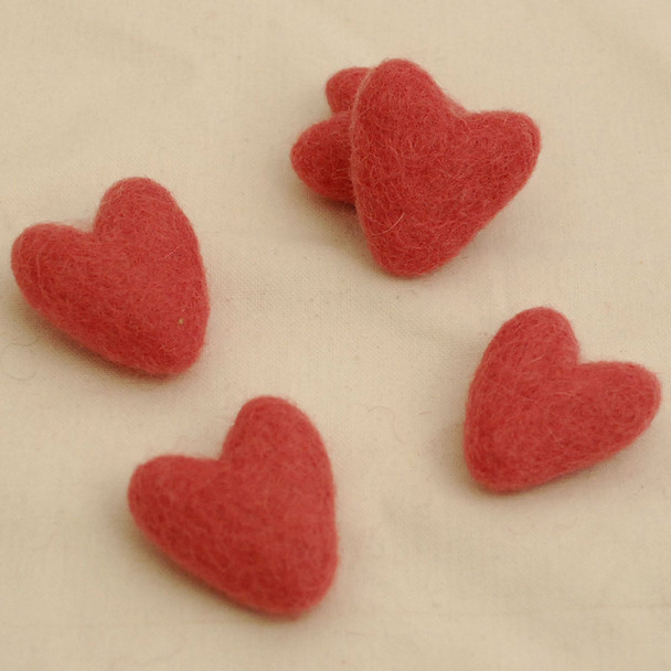 100% Wool Felt Hearts - 10 Count - Antique Rose Pink - Approx 3.5cm