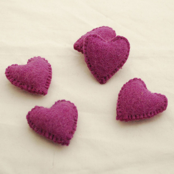 100% Wool Felt Fabric Hand Sewn / Stitched Felt Heart - 4 Count - approx 5.5cm - Dark Amethyst Purple