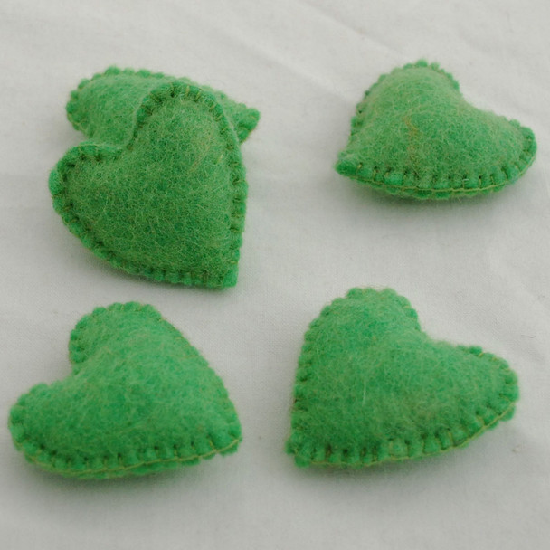 100% Wool Felt Fabric Hand Sewn / Stitched Felt Heart - 4 Count - approx 5.5cm - Green Flash