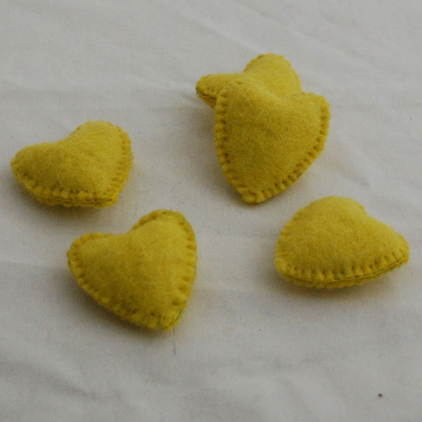 100% Wool Felt Fabric Hand Sewn / Stitched Felt Heart - 4 Count - approx 5.5cm - Lemon Yellow