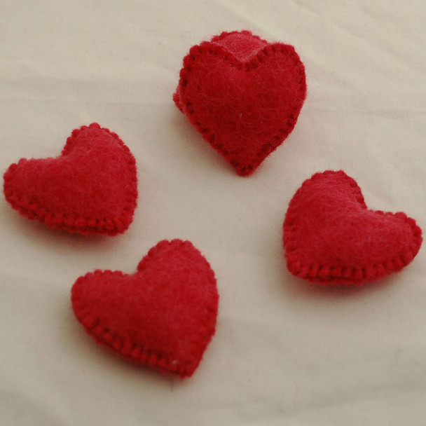 100% Wool Felt Fabric Hand Sewn / Stitched Felt Heart - 4 Count - approx 5.5cm - Coral Red