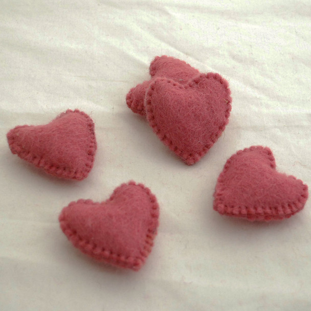 100% Wool Felt Fabric Hand Sewn / Stitched Felt Heart - 2 Count - approx 5.5cm - Antique Rose Pink