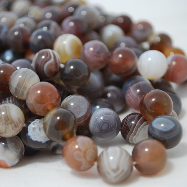 High Quality Grade A Natural Botswana Agate Semi-Precious Gemstone Round Beads - 4mm, 6mm, 8mm, 10mm sizes