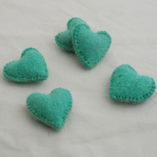 100% Wool Felt Fabric Hand Sewn / Stitched Felt Heart - 2 Count - approx 5.5cm - Aquamarine Green