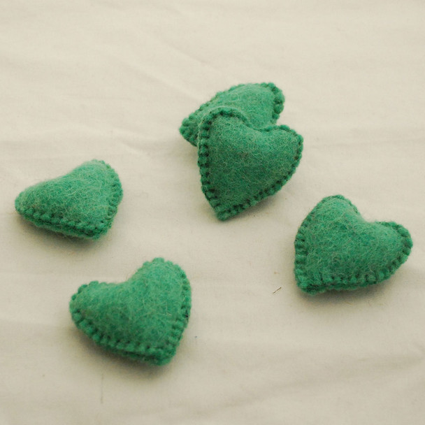 100% Wool Felt Fabric Hand Sewn / Stitched Felt Heart - 2 Count - approx 5.5cm - Jade Green