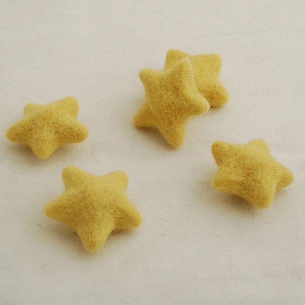 100% Wool Felt Stars - 5 Count - Light Mustard Yellow - approx 4.5cm - 5cm