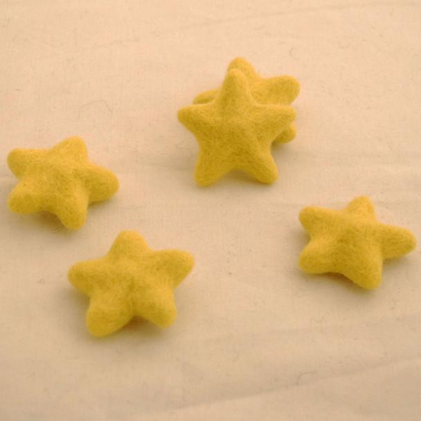 100% Wool Felt Stars - 5 Count - Lemon Yellow - approx 4.5cm - 5cm