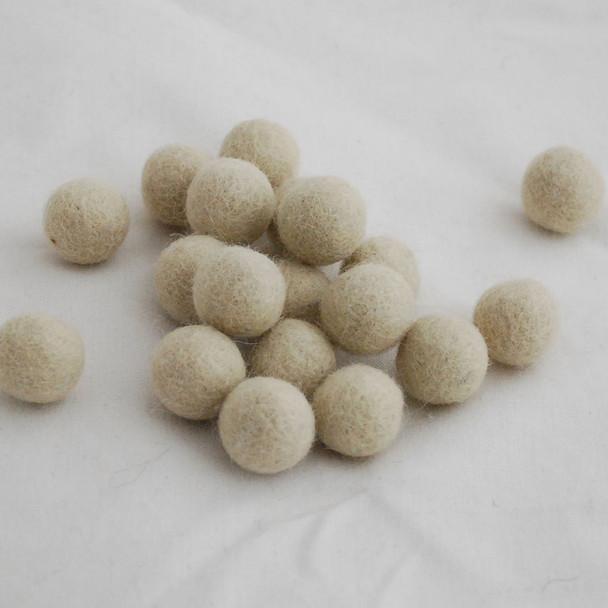 100% Wool Felt Balls - 2cm - Antique White - 20 Count / 100 Count
