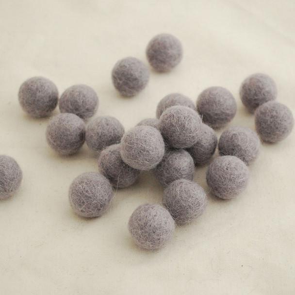 100% Wool Felt Balls - 10 Count - 2cm - Rocket Metallic Grey