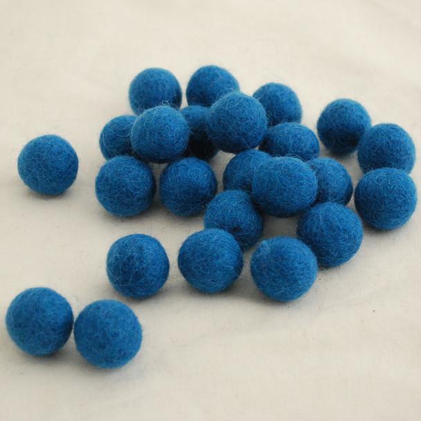 100% Wool Felt Balls - 10 Count - 2cm - Pale Ultramarine Blue