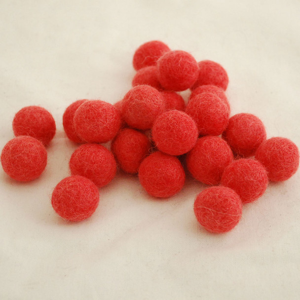 100% Wool Felt Balls - 10 Count - 2cm - Light Coral Red