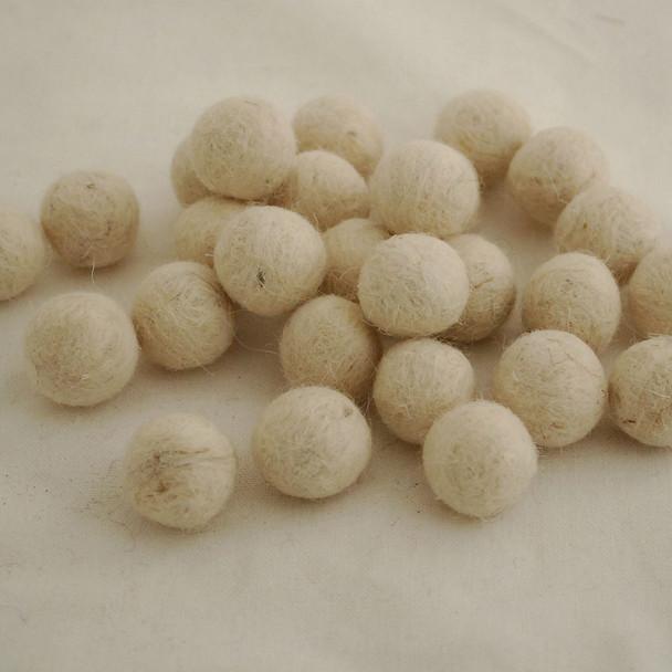 100% Wool Felt Balls - 1.5cm - Off White - 25 Count / 100 Count
