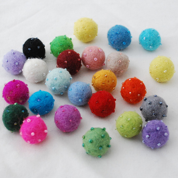 100% Wool Felt Balls - Assorted 25 Beaded Felt Balls - 2cm