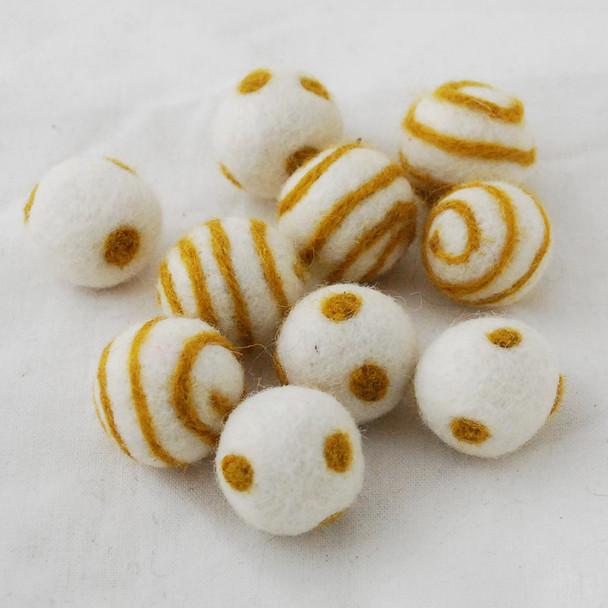 100% Wool Felt Balls - 10 Count - Ivory White Felt Balls with Goldenrod Polka Dots / Swirl - approx 2.5cm