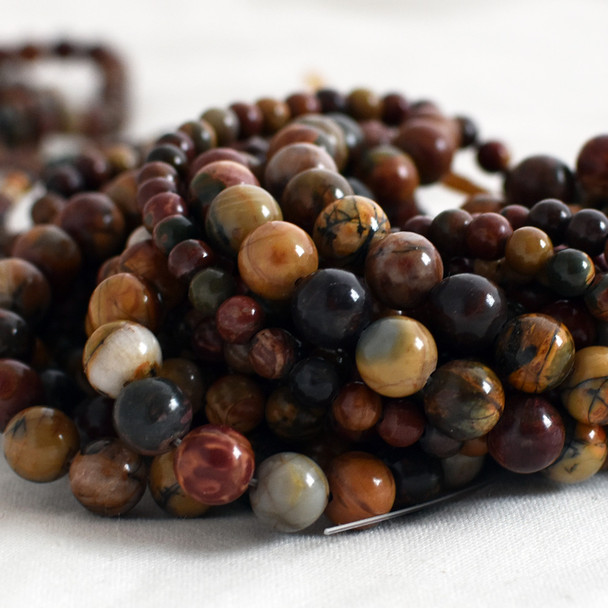 High Quality Grade A Natural Red Creek Jasper Semi-Precious Gemstone Round Beads - 4mm, 6mm, 8mm, 10mm