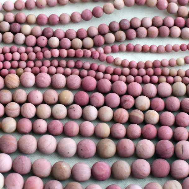 High Quality Grade A Natural Chinese Rhodonite (pink) Frosted / Matte Semi-precious Gemstone Round Beads - 4mm, 6mm, 8mm, 10mm sizes