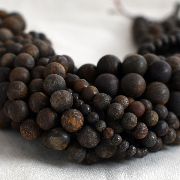 High Quality Grade A Natural Bronzite Frosted / Matte Semi-precious Gemstone Round Beads - 4mm, 6mm, 8mm, 10mm sizes