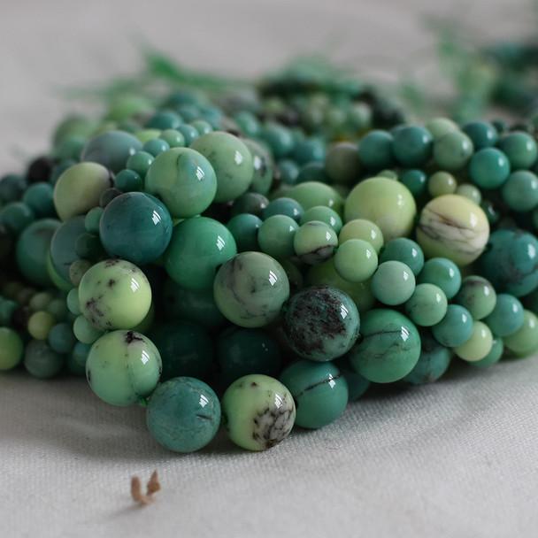 High Quality Grade A Natural Moss Green Opal Semi-precious Gemstone Round Beads - 4mm, 6mm, 8mm, 10mm sizes