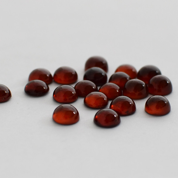 Grade AA Natural Hessonite Garnet Semi-precious Gemstone Round Cabochon - 3mm, 4mm, 5mm, 6mm, 7mm, 8mm, 10mm sizes
