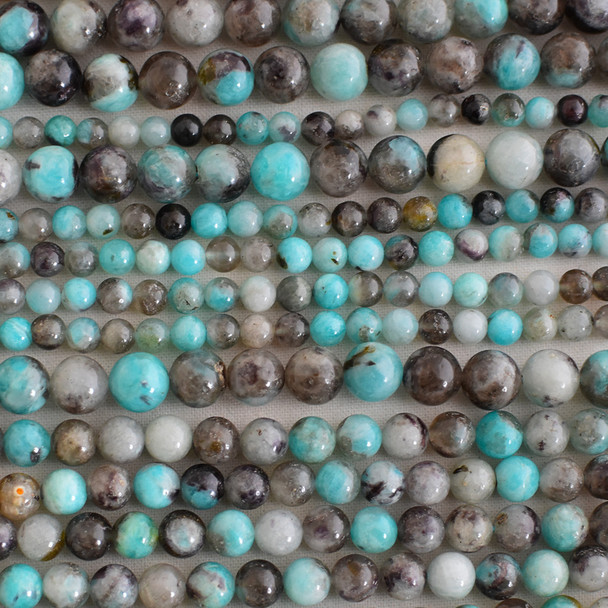 High Quality Grade A Natural Black Line Amazonite Semi-precious Gemstone Round Beads - 6mm, 8mm, 10mm sizes